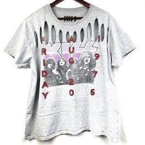Kiss Graphic Band Tshirt Gray Retro Cut Outs Plus